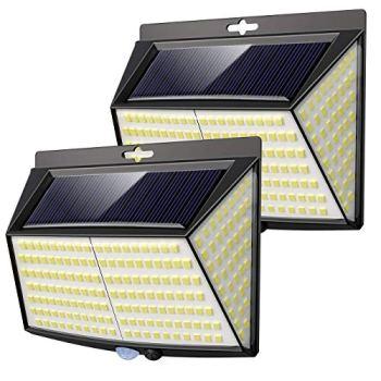 Lampe Solaire Extérieur,Vighep 228 LED [ 2 Packs] Lumiere Solaire Exterieur Detecteur de Mouvement led éclairage Solaire Extérieur étanche Sans Fil Spot Solaire Lumière Puissant Sécurité pour Jardin