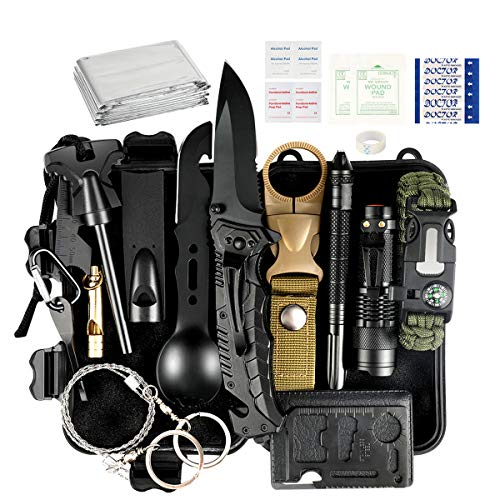 Puhibuox Gifts for Him Men Dad Boyfriend Fathers Day, 35 in 1 Emergency Survival Gear Kit, Cool Gadget Stocking Stuffer, Emergency Camping Gear for, Hiking, Hunting