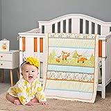 Brandream Playful Fox Crib Bedding Set for Baby Boy and Girl Mint Lattice Bedding Arrow Print Baby Crib Bedding Set Woodland Nursery Bedding Set Multi-Colors Bedding Unisex 8pcs