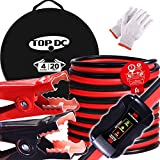 TOPDC Smart Jumper Cables 4 Gauge 20 Feet -40℉ to 167℉ Heavy Duty Booster Cables with Reverse Hook Up and Alternator Indicator, Battery Condition Tester (4AWG x 20Ft)