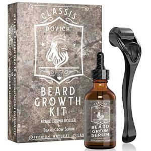 2 In 1 Beard Growth Kit, DOVICH Derma Beard Roller, Beard Growth Serum For Conditioning, Thickening,...