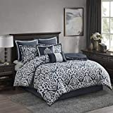 Madison Park Odette 8 Piece Comforter Textured Jacquard, Damask Medallion, Embroidered Pillow All Season Modern Classic Luxe Bedding Set, Matching Sham, Bedskirt, Queen, Navy