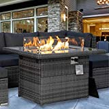 Rectangle Propane fire Pit 43' fire Table 55,000 BTU Auto-Ignition with 8mm Tempered Glass Table Top Gas firepits for Patio Outdoor Glass Stone Included CSA Certification with Cover