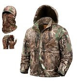 NEW VIEW Hunting Clothes for Men,Upgrade Ultra-silent Water Resistant Hunting Jackets,Camo Hooded Jacket (Upgraded Tree, L)