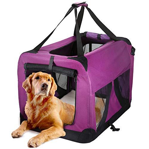 HAPPY HACHI Sac de Transport pour Chien Chat (70×52×52CM) en Nylon Respirant Souple Pliable pour Animal Chenil à Domicile et Extérieur Cage Canine Portable pour Sortir Camping Long Voyage -Violet