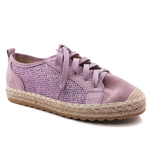 Angkorly - Zapatillas Moda Zapatilla - Sneakers Alpargata Casual/Informal comode Bohemia Mujer Gamuza Trenzado Tacón Plano 2 CM - Púrpura LX213 T 38