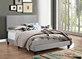 Crown Mark Upholstered Panel Bed in Gray, with Nailhead, Queen