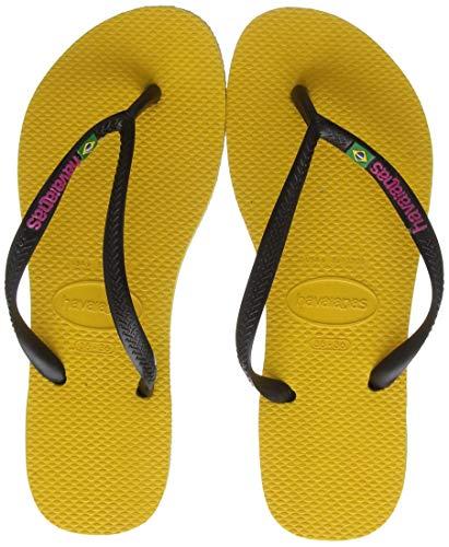 Havaianas Slim Brasil Logo, Infradito Donna, Giallo (Banana Yellow 1652), 33/34 EU