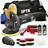 SPTA Buffer Polisher, 7 Inch 180mm Rotary Polisher Car Polisher Electric Polisher RO Polisher & Polishing Pads Set for Auto Buffing and Polishing