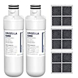 Crystala Filters LT1000P Refrigerator Water Filter and Air Filter, Compatible with LG LT1000P, LT1000PC, ADQ747935, MDJ64844601, Kenmore 46-9980, and LT120F, ADQ73214404 Air filter Combo