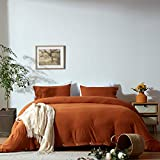 NexHome Duvet Cover Sets King Size Rust/Burnt Orange Double Brushed Microfiber Button Closure & Corner Ties-Breathable and Soft-3pcs