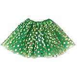 Jastore Baby Girls' Polka Dot Tutu Glitter Ballet Triple Layer Tulle Dance Skirt (3-10 Years, Green)