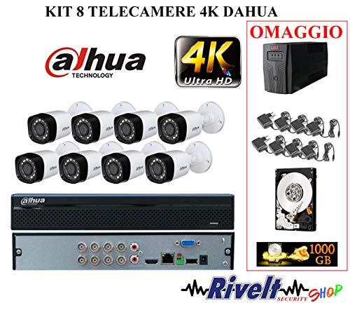 KIT DAHUA 8 TELECAMERE 4 MP, XVR 8 CANALI 5 MP UPS 600 VA HARD DISK DA 1 TERA 1000 GB INCLUSO