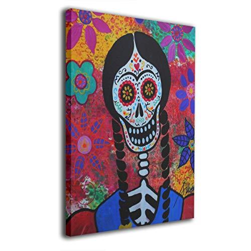 Pintura C Frida Kahlo Mexicana Folk Wall Art Pinturas en Lienzo sin Marco Listo para Colgar para decoración del hogar 16 x 20 Pulgadas, Madera, Blanco, Talla única