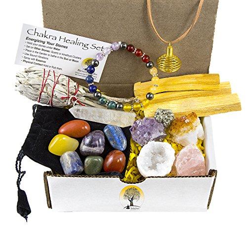 White Sage, Palo Santo Wood & Crystal Healing Kit (17Pc) ~...