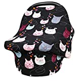 Breastfeeding Nursing Cover, Baby Carseat Canopy, Infant Stroller Covers, Shopping Cart Cover Multifunction Sun Shade Canopy (Owl 042)