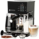 10 Pc All-In-One Barista Bundle Espresso Machine & Cappuccino Maker, 19 BAR Pump Set w/ Built in Milk Steam & Frother (Incl: Electric Coffee Bean Grinder, 2 Cappuccino & 2 Espresso Cups, Spoon/Tamper, Portafilter w/ Single & Double Shot Filter Baskets, 16 Art Stencil Templates) (Black)