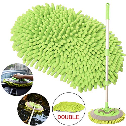 2-in-1 Car Wash Mop Mitt with Long Handle, Chenille Microfiber Car Wash Dust Brush Extension Pole Adjustable Length 24in-46in, Scratch Free Tool for Cleaning Truck, Total 2 Pcs Replacement Mop Head