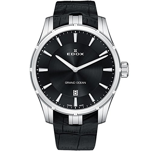 Edox Grand Ocean Herren-Armbanduhr 41mm Armband Leder Gehäuse Edelstahl Schweizer Quarz 56002 3C NIN