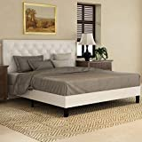 Amolife Queen Size Bed Frame Platform Bed Mattress Foundation Wood Slat Support Upholstered Button Tufted Diamond Stitch with Amolife Headboard, Cream