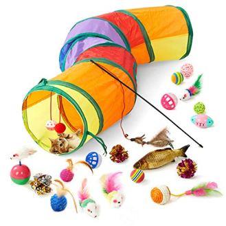 Blnboimrun-20PCS-Cat-Toys-Interactive-Kitten-Toys-Assortments-Tunnel-Balls-Catnip-Fish-Feather-Teaser-Wand-Mice