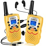 Bobela 🎁 Two-Way-Radios with Headset and Mic, CB FCC Wakie-Talkies 3-Mile Range 22-Channels Built-in Flashlight Microphone Button Lock LCD Display (2 Pack Yellow VT8)