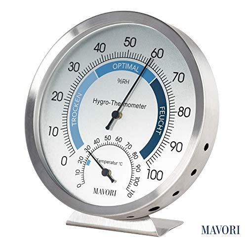 MAVORI® Termo-Igrometro de interiore analogico - Misuratore di umidità e termometro in acciaio inossidabile di alta qualità per un controllo affidabile del clima interno