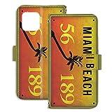 PU手帳型 ミラータイプ スマホケース iPhone 12 mini 5.4インチ 用 ナンバープレート・マイア……