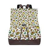 Yuanmeiju Mochila de Cuero Rucksack Mexican Style Food Skull Funny Pattern Daypack Bags for Girls Boys