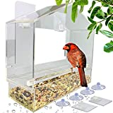 Window Bird Feeders with Removable Tray for Outside, Never Falling Off, Extra Large Outside Bird...