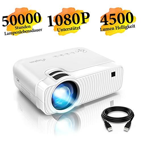 "Mini Beamer, ELEPHAS 4500 Lumen Tragbarer LED Projektor, unterstützt 1080P, Max 180 ""Display, 50000 Stunden Lampenlebensdauer, kompatibel mit USB / HD / SD / AV / VGA. MEHRWEG"