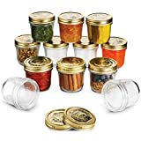 Bormioli Quattro Stagioni Wide Mouth Mason Jars 6 ¾ Ounce Glass Jar with Metal Airtight Lid Canning Jar for Jam, Jelly, Honey, Great Pickling, Preserving, Meal Prep, Food Storage, Salad Jar (12 Pack)