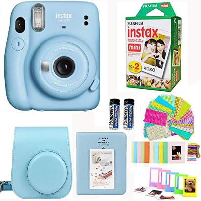 Fujifilm-Instax-Mini-11-Sky-Blue-Camera-with-Fuji-Instant-Film-Twin-Pack-20-Pictures-Blue-Case-with-Strap-Album-Stickers-and-More-Accessories-Bundle