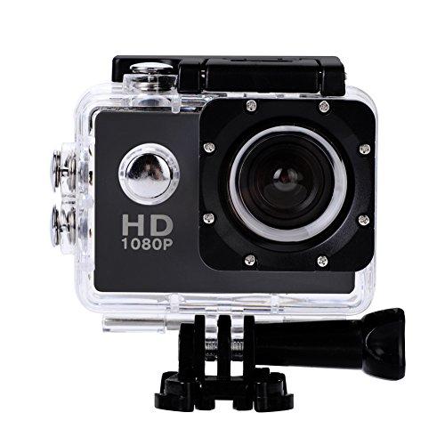 4K Action Camera,12MP 1080p Full HD impermeabile 30M, obiettivo grandangolare 140,batterie ricaricabili 900mAh, fotocamera subacquea con schermo LCD da 2.0'e kit di accessori di montaggio(Nero)