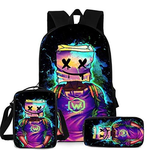 Marshmallow zaino scuola 3 pezzi per bambini astucci, borse a tracolla, borsa per musica DJ giovanile alla moda, pratica borsa per libri adatta per ragazzi e studenti