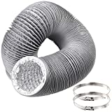 Duct Hose 4 inch by 12 feet, Abuff Flexible 4-Layers Aluminum Dryer Vent Tube Transition Duct with 2 Screw Clamps Great as HVAC Duct, Clothes Dryer Duct, Air Duct