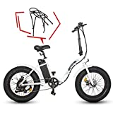 "ECOTRIC Powerful 500W Folding Electric Bicycle 20"" Fat Tire Alloy Frame 36V/12.5AH Lithium Battery Ebike Rear Motor LED Display (White) w/Free Rear Rack"