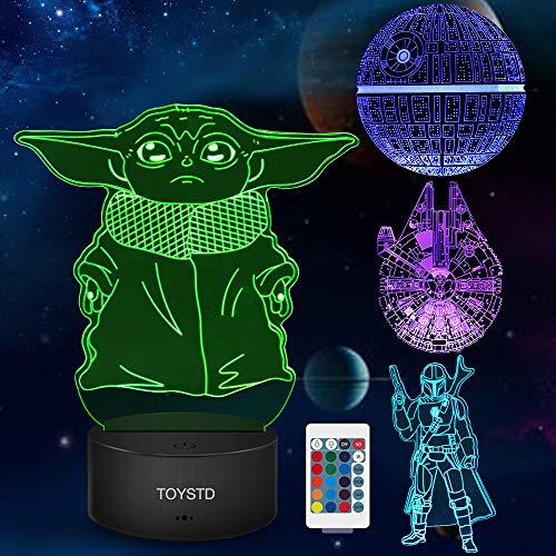 Star Wars Geschenke 3D Lampe Spielzeug Nachtlicht mit 4 Mustern und 7 Farbwechsel Dekor Lampe -...