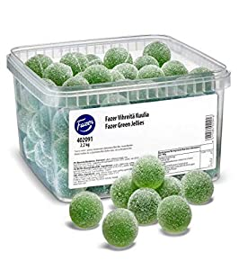 The Fazer Green Jellies are the prettiest pearls of every feast. The luxurious sweet taste of these jellies creates memories that do not fade away. Big boxes cater for big parties! Size ;2.2 kg = 4.8lb = 1 box