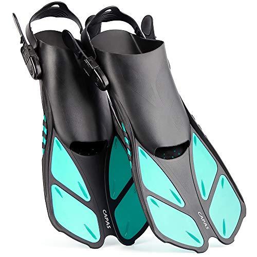 CAPAS Snorkel Fins, Swim Fins Travel Size Short Adjustable for Snorkeling Diving Adult Men Women Kids Open Heel Swimming Flippers (Green, L/XL(Adult US Size 9-13))