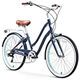sixthreezero EVRYjourney Steel Women's Hybrid Bike with Rear Rack, 26 Inches, 7-Speed, Navy, Navy w/Brown Seat/Grips