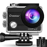 Crosstour Caméra Sport Full HD Webcam Wi-FI Étanche 30M 14MP 170 °Grand-Angle 2 Pouces LCD avec 2...