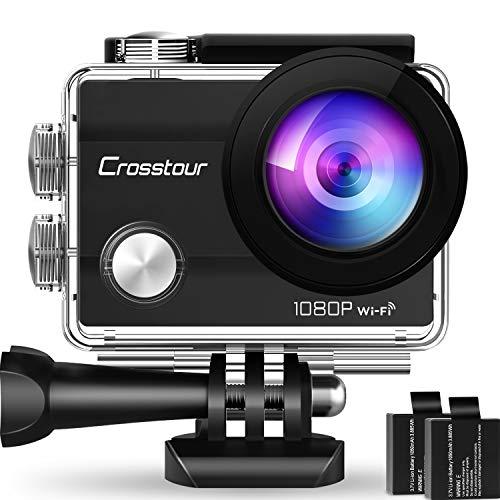 """Crosstour Action Sport Cam Wifi 12MP Full HD Unterwasserkamera 2\"""" LCD 170° Weitwinkelobjektiv Helmkamera mit 2 Akkus 1050mAh und Zubehör Kits"""