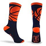 Basketball Sock | Athletic Mid Calf Woven Socks | Basketball Wrap | Navy and Neon Orange