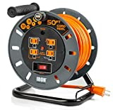 50 Ft Extension Cord Reel with 4 Electrical Power Outlets - 14/3 SJTW Heavy Duty Orange Cable