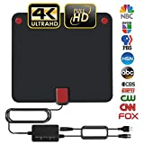 Amplified HD Digital Indoor TV Antenna with 2019 Newest Powerful Amplifier Signal Booster Support 4K 1080P 60-120 Miles Range Digital Antenna for HDTV Free View Channels