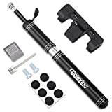 Mini Bike Pump 120 PSI & Glueless Puncture Repair Kit - Fits Presta and Schrader -Bicycle Tire Pump
