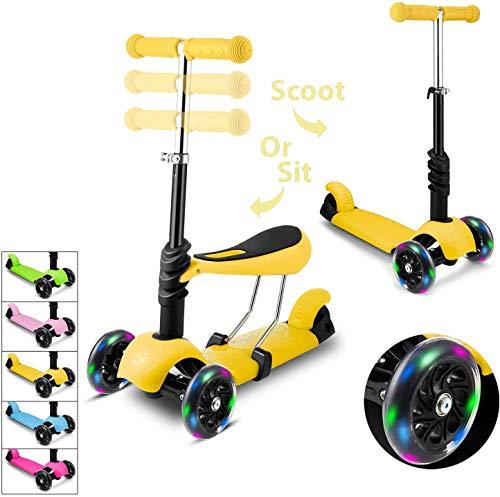 Hikole Monopattino a 3 Ruote per Bambini con Sedile et 3 Ruote Kick Scooter con Ruote a LED, Altezza...