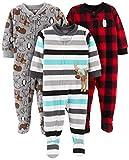 Simple Joys by Carter's Lot de 3 pyjama à pied en polaire pour bébé et enfant garçon Simple Joys by Carter's ,Arctic Animals/Stripe Mouse/Buffalo Check,5T