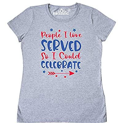 Memorial Day People I Loved Served So I Could Celebrate Women's T-Shirt. 5.3 oz., pre-shrunk 100% cotton Half inch rib mid-scoop neck Double-needle stitched hems Taped neck and shoulders